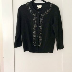 Kate Spade Black Wool Jeweled Cardigan -NWT